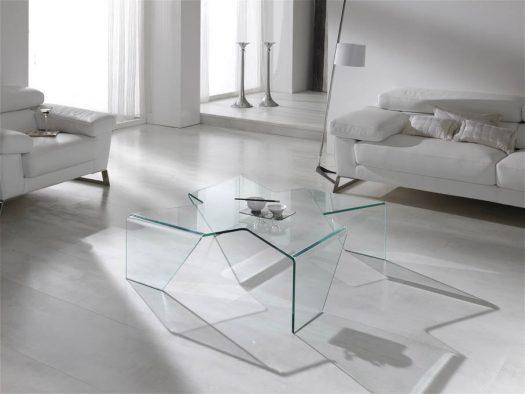 Mesas de centro de cristal.